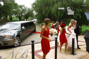 The bridal party exits for the ceremony